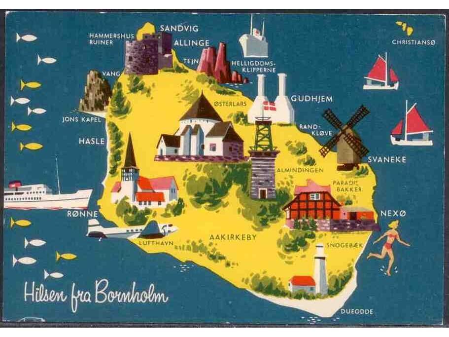 kart over bornholm danmark Postkort: Bornholm   Kart over øya » Frimerker & mynt | DNF kart over bornholm danmark